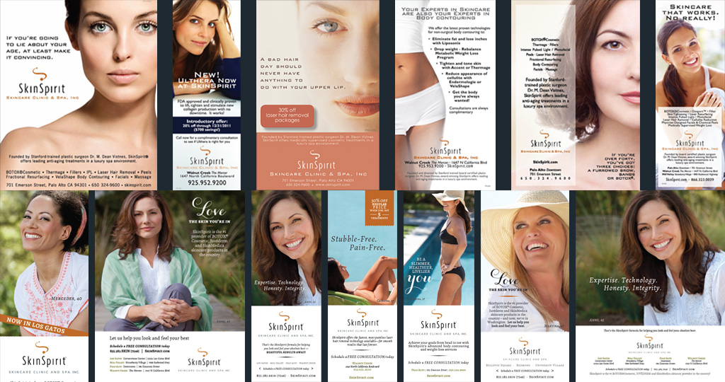 We've produced over 450 print magazine ads for SkinSpirit Skincare Clinic and Spa and counting!  The key here is consistency of brand – and in this case, also the re-brand.