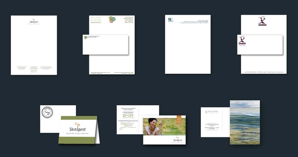 Stationary: letterhead, envelopes, return address stamp, greeting card and postcards